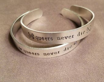 Queers Never Die - Aluminum Bracelet with optional decoration