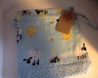 Sheep and balloons drawstring project bag.