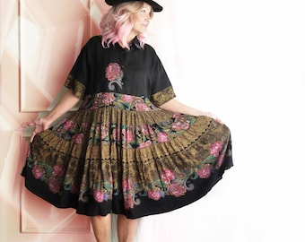 Plus size Carole Little dress, German rayon skirt, vintage Carole Little, gypsy, black, pink flowers, oversize, linen, silk shirt, ooak