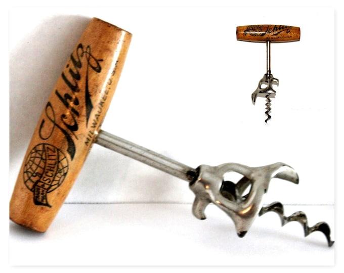 1890s Schlitz Beer Bottle Opener, Schlitz Brewing Co. Milwaukee USA Corkscrew