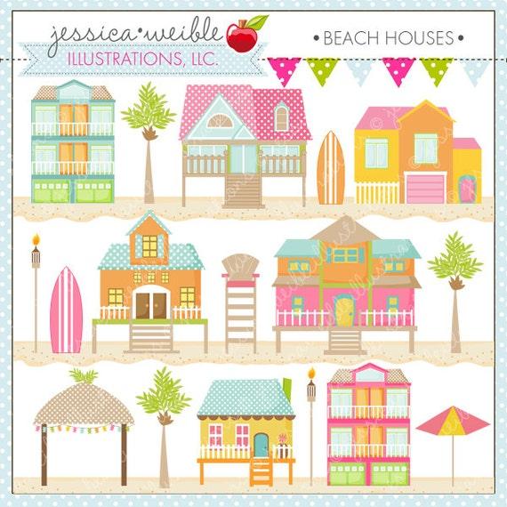 Beach houses cute digital clipart for card design for Cute beach houses