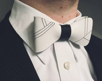 Men's white Leather bow tie Bow ties for Men . Rustic bow tie Fathers Day gift Groomsmen gift ideas