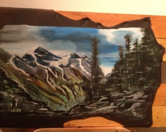 "Painting on leather ""In the Rocky mountains"""