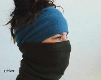 Olive Fleece Mask | Headband, Dreadband, Hair Tube, Dread Sock, Loc Wrap, Wide Band | Long, Dreadlock, Updo, Warm | Eco Friendly Headband