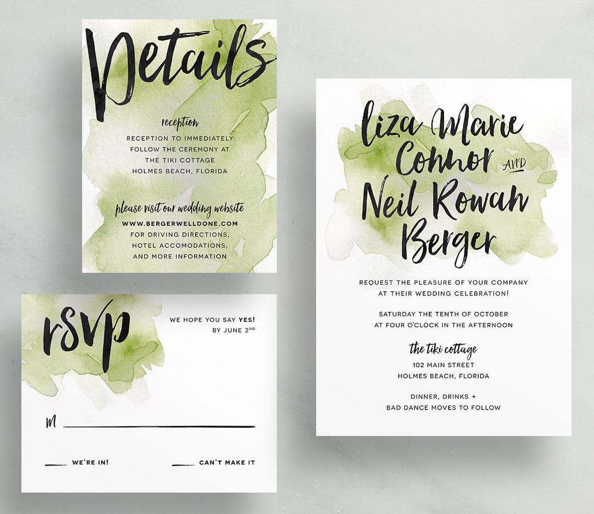 Watercolor Splash Wedding Invites / Olive Green / Hand Brush