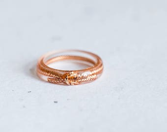 Love Knot Thin Stackable Gold Resin Ring Size 7 Smooth Ring OOAK minimal chic minimalist jewelry