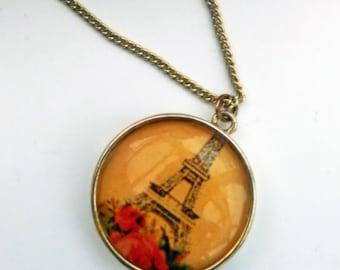 Vintage Eiffel tower pendant, vintage Paris pendant, silver tone domed Paris pendant, domed Eiffel tower necklace