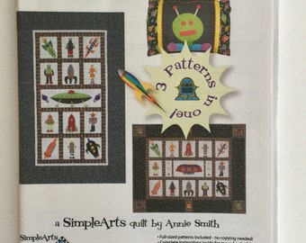 Rockets n' Robots Quilt Pattern by Annie Smith, Whimsical Child Quilt Pattern, Simple Arts Quilt Pattern, Robot Quilt, Quiltsy Destash Party