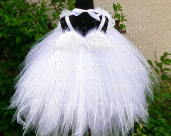 White Angel Tutu Dress Costume - Angelica - Custom Sewn Pixie Tutu Dress w/ Angel Wings - up to 24 mo - for Halloween, Valentine's Day