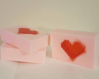 Sweet Heart Soap - Raspberry Scented Shea Butter Bar Soap