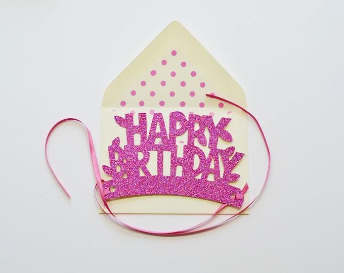 Peony Happy Birthday Glitter Crown Card