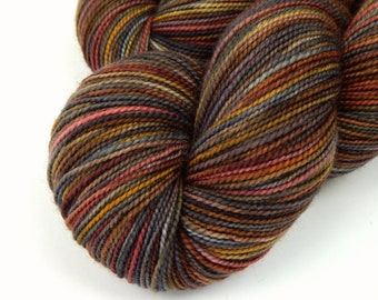 Hand Dyed Sock Yarn, Sock Weight Superwash Merino Wool - Agate - Gray Grey Brown Indie Dyed Fingering Yarn, Gift for Knitter, Earthtones