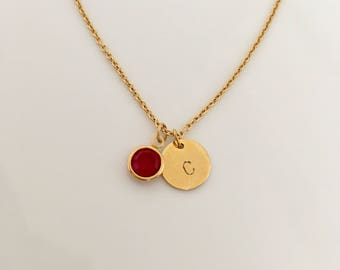 Birthstone Necklace initial necklace circle necklace , Birthstone Jewelry , Personalized Necklace -,Birthday Gift , Birth Month