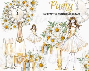 New Year Watercolor Clipart, Winter Party Happy New Year, Fashion Illustration, Watercolor Christmas, Champagne Gold Clipart, Girl Clipart