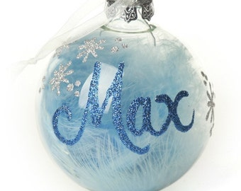 Blue Feather Clear Glass Personalised Christmas Bauble
