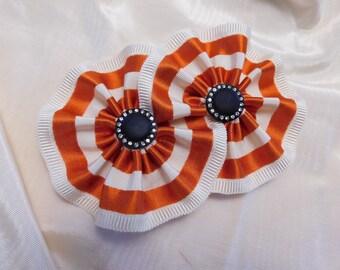 Rayé Ivoire Cocarde Burnt Orange ruban Vintage chapellerie Applique