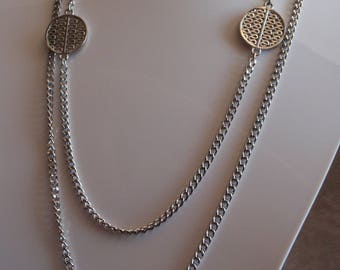 Asian Style Necklace Curb Chain Oriental Disks Silver Tone Long 54 Inch Vintage 082213RO