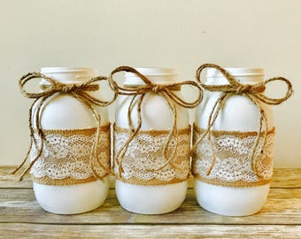 3 Large/Quart Burlap and Lace Decorated White Mason Jars, Country Rustic Theme, Bridal Reception Centerpieces, Mason Jar Vases