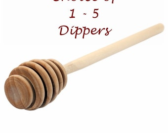 Choice of 1 - 5 Honey Dippers-Unfinished Hardwood-6 Inches Long-Honey Stick-Wedding Favors