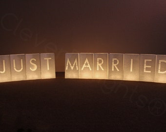Just Married Luminary Bags - 1 Set - 11 Bags Total - White Color - Flame Resistant Paper - Wedding Reception Decor - Luminaria Candle Bag