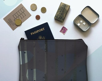printmaker's pouch, pochette, zipper pouch, clutch, makeup bag, toiletry bag, travel bag, purse, screen print, gifts for him, charcoal, grey