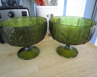 Avocado Green FTD Glass Compotes Maple Leaf Vases