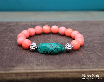 Coral and turquoise bracelet Coral bracelet Beaded Boho bracelet Gemstone bracelet Resort jewelry Tropical jewelry Resort wear for women