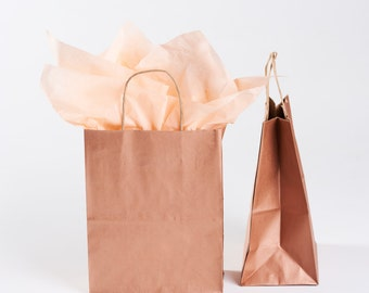 12 Rose Gold Gift Bags with Handles