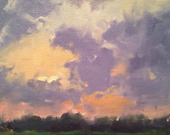 Cloud Dance, Original Landscape Oil Painting by René, Fine Art Paintings, Cloud Painting, Painting, Sky Painting, Sunset Painting, Wall Art