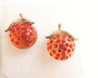 Matching Pair of Forbidden Fruit Lucite and Rhinestones Apple Figural Brooches