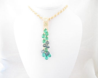 Necklace, peyote pendant with green and blue quartz briolettes on a spiral rope