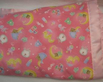 Satin baby blanket, Girls baby blanket, Minky blanket, Baby Blanket girls, Security Blanket, satin trim Blanket,toddler blanket,pink blanket