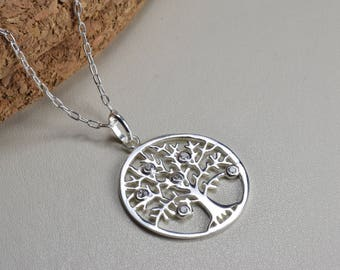 Sterling Silver, tree of life necklace, cubic zirconia