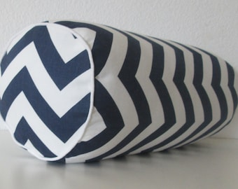 Bolster pillow cover - Zig-Zag - Navy - White - Decorative cushion cover