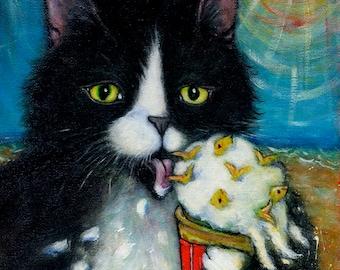 Tuxedo Cat cards. Fishies 'n Cream. Set of 5