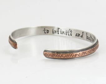 Sterling Silver Cuff Bracelet -To infinity and beyond- Personalized -Silver and Copper Bangle -Handmade- Anniversary Gift -Couple's Bracelet