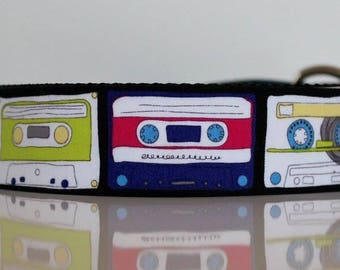 Retro Mixed Tape Dog Collar, Cassette Tape Dog Collar, Retro Dog Collar, Hipster Dog Collar, Large Dog Collar, Extra Large Dog Collar