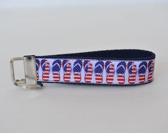 Patriotic Red White and Blue Key Fob Lanyard