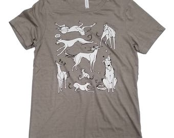Ink hound Arts Collaboration Unisex Heather Stone T-Shirt (For Greyhound Lovers; Sighthounds, Borzois, Galgos, Lurchers, Iggies)