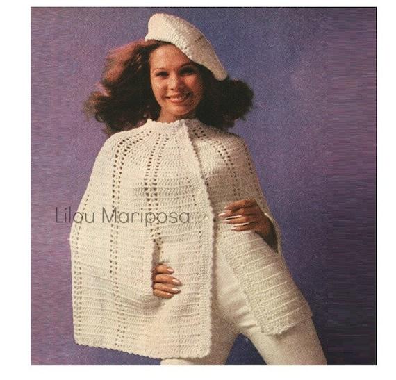 Patron pdf de tejido en crochet poncho sueter capa de tejido y