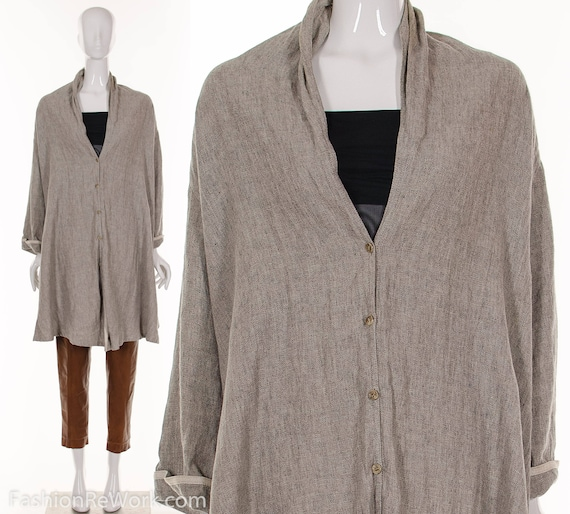 90's Size Jacket Linen Linen S Tent Dress Beige O MINIMALIST Tent Natural One Jacket AR4AP