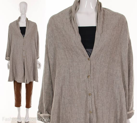 Size O Natural Linen Linen One 90's Dress Tent Jacket MINIMALIST Tent Beige S Jacket PxpqYn7wqC