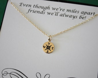 Tiny Gold Compass Necklace, Tiny Bronze Charm, Gold Compass, Directions, Best Friend Gift, BFF