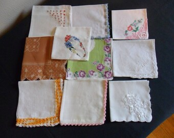 10 Vintage handkerchiefs assorted florals and embroidery lace Mother hanky