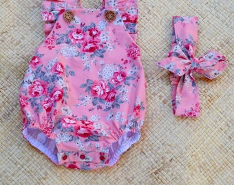 Peach and Red Rose Flutter Strap Bubble Romper, Sunsuit and headband set or single romper