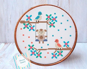 Cute Puppy Cross Stitch Pattern Dog Embroidary Instant Download