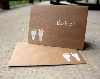 Set of 5-Baby Shower Thank You Card, Kraft Thank You, New Baby Kraft Paper Thank You Card, New Parent Thank You Card, New Baby Thank You Set