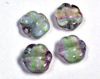 Vintage Glass Beads German BLUE PINK FLOWERS 10mm pkg4 gl420