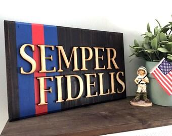 Wood Pallet Blood Stripe Semper Fidelis Art