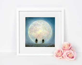 Insect Wall Art - Nature Artwork - Full Moon Picture - Bee Art - Bumblebee Picture - Christmas Gift Idea - Home and Nursery Decor